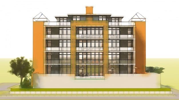 Klein functioneel condominium met een eigen afgesloten ruimte, garage en zwembad. 3d illustratie in handgetekende stijl, imitatie potlood en aquarel