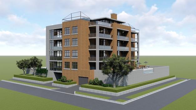 Klein functioneel condominium met een eigen afgesloten ruimte, garage en zwembad. gebied met parasols om te ontspannen bij warm weer. zomer zonnige dag met kleine wolken. 3d-weergave