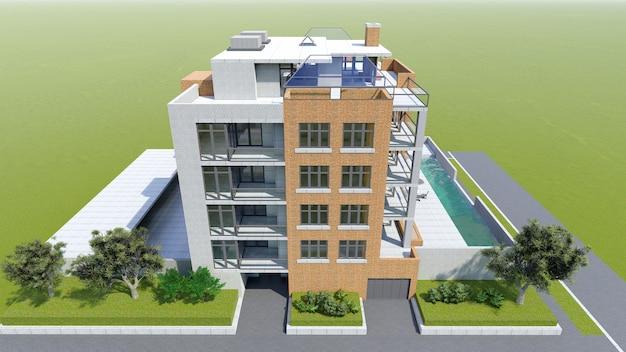 Klein functioneel condominium met een eigen afgesloten ruimte, garage en zwembad. gebied met parasols om te ontspannen bij warm weer. zomer zonnige dag met kleine wolken