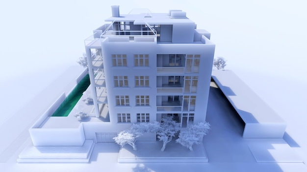 Klein functioneel condominium met een eigen afgesloten ruimte, garage en zwembad. ruimte met parasols om te ontspannen bij warm weer. zomer zonnige dag met kleine wolken. 3d-rendering.