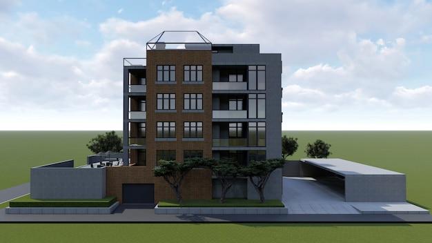 Klein functioneel condominium met een eigen afgesloten ruimte, garage en zwembad. ruimte met parasols om te ontspannen bij warm weer. zonnige zomerdag met kleine wolken. 3d-weergave.