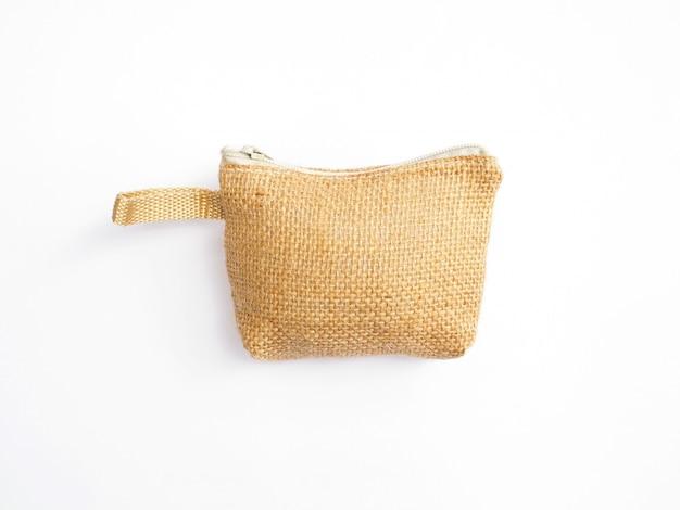 Klein handwerk tasje voor munt gemaakt van natuurlijke stof
