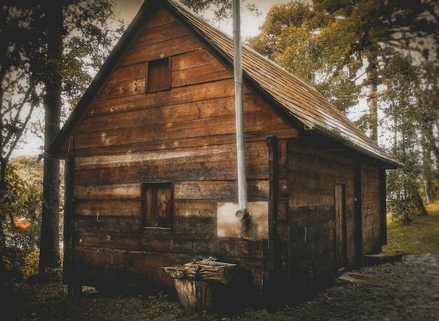 Klein houten huis in het bos overdag