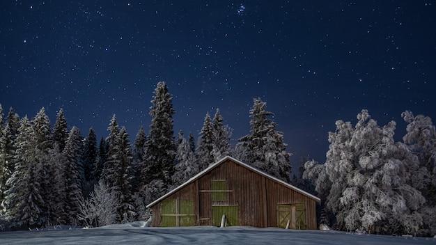 Klein houten huis in het schilderachtige winterbos aan de sterrenhemel