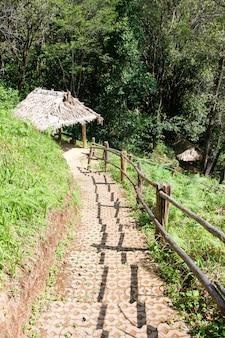 Klein houten paviljoen op de heuvel om uit te rusten tussen het natuurpad.