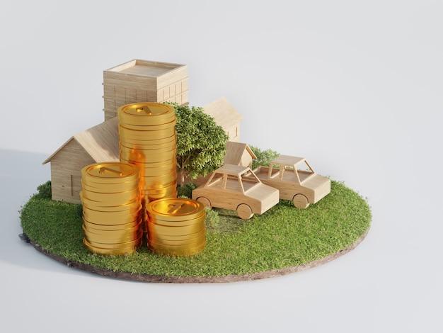 Klein huis met kleine auto op aarde en groen gras