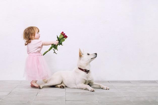 Klein kind meisje mooi schattig en blij met hond en bloemen op witte muur achtergrond