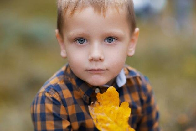 Klein kind onderzoekt een eikenblad. kid verkennen van de natuur. herfstactiviteit voor nieuwsgierig kind