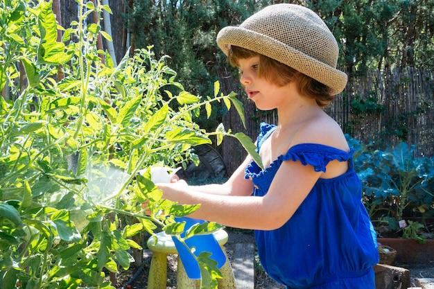 Klein kind steriliseren groenten in de boomgaard met gewasbescherming