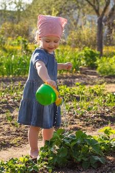 Klein lachend meisje in een spijkerjurk giet aardbeienstruik in de tuin uit een gieter voor kinderspeelgoed.