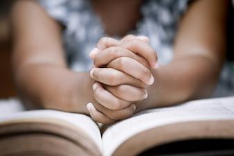 Klein meisje bidt met een heilige bijbel