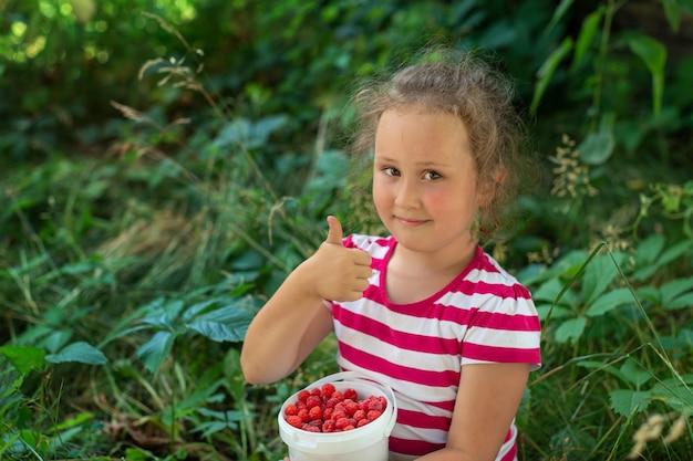 Klein meisje houdt een plastic emmer met rode frambozen vast en steekt duimen op