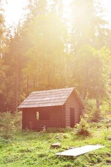 Klein natuurlijk huis, dat is gebouwd van hout. het gebouw bevindt zich in het bos