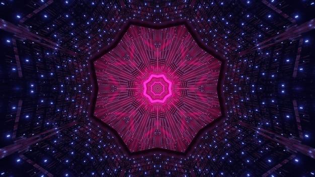 Klein neonlicht dat in donkere tunnel rond abstract roze ornament schijnt