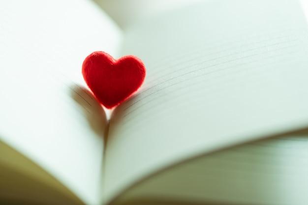 Klein rood hart in een geopende pagina met literatuur,