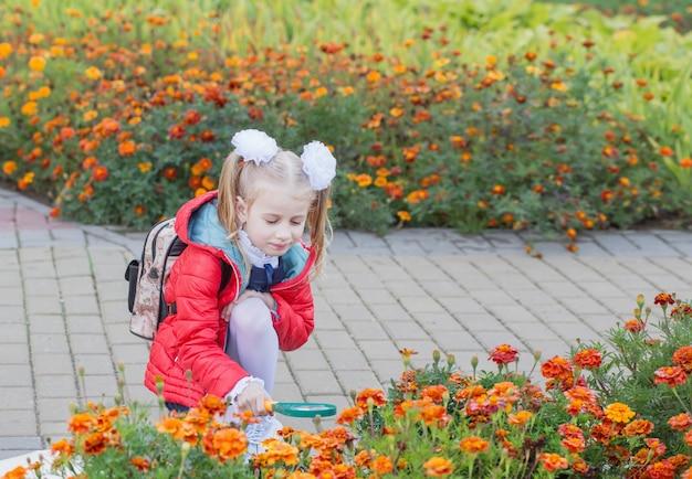 Klein schoolmeisje onderzoekt bloemen op bloembed door vergrootglas