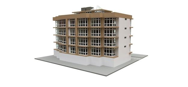 Klein wit en beige condominium met lift en garage. 3d-rendering.