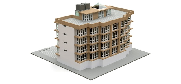 Klein wit en beige condominium met lift en garage. 3d-weergave.