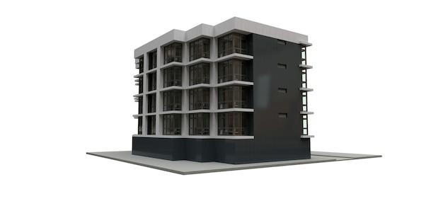 Klein wit-grijs condominium met lift en garage. 3d-rendering.