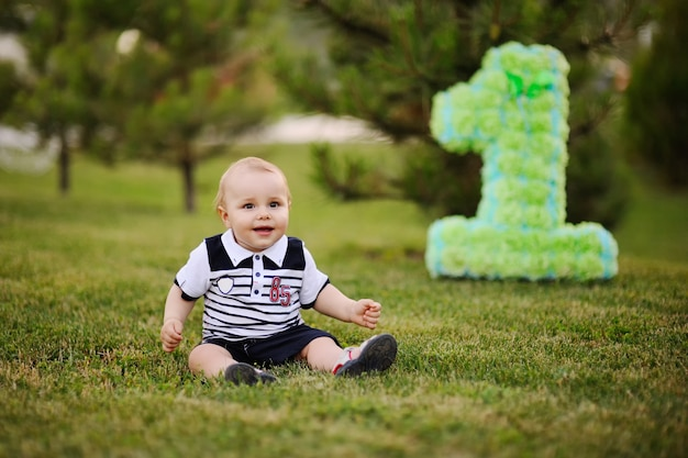 Kleine babyjongen zittend op gras en glimlacht op zijn eerste verjaardag