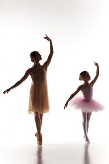 Kleine ballerina dansen met persoonlijke balletleraar in dansstudio