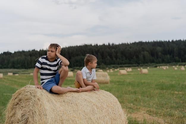 Kleine blanke schattige jongens zitten op een hooizak in een veld in de zomer met stro in de mond