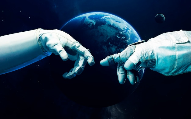 Kleine blauwe planeet aarde in diepe ruimte.