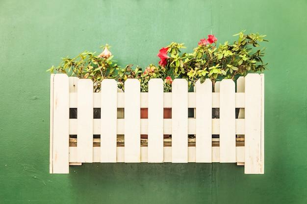 Kleine decorplant in pot met groene muur