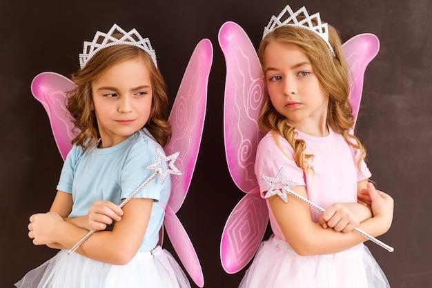 Kleine feeën beide met roze vleugels kroon en magische toverstokken.
