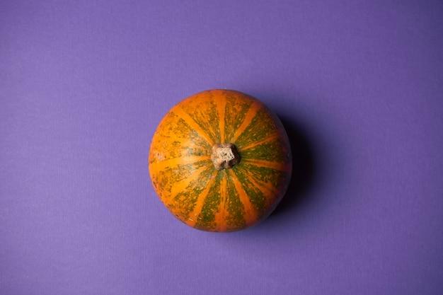 Kleine getextureerde bovenaanzicht pompoen op een paarse muur. halloween decoratie.