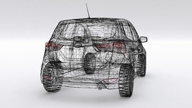 Kleine gezinsauto, mesh-design. 3d-weergave. Premium Foto