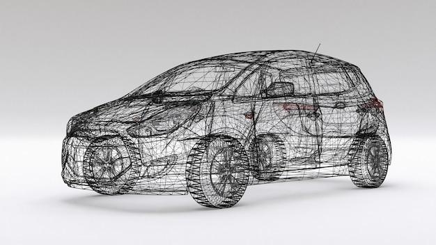 Kleine gezinsauto, mesh-design. 3d-weergave.