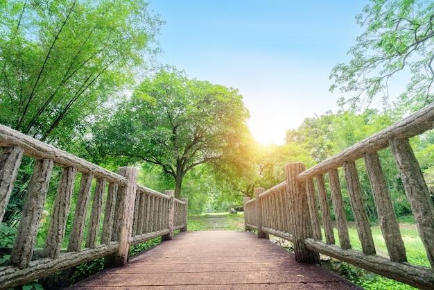 Kleine houten brug, landelijk landschap.