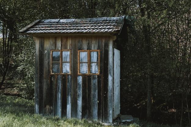 Kleine houten hut met bruine ramen met witte gordijnen in een bos omgeven door bomen