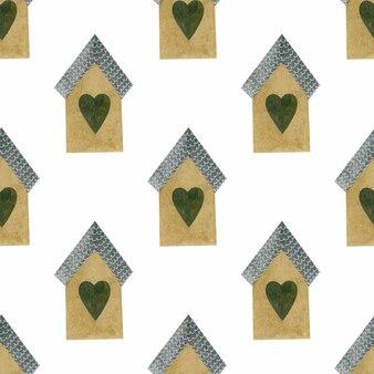 Kleine huizen aquarel naadloos patroon