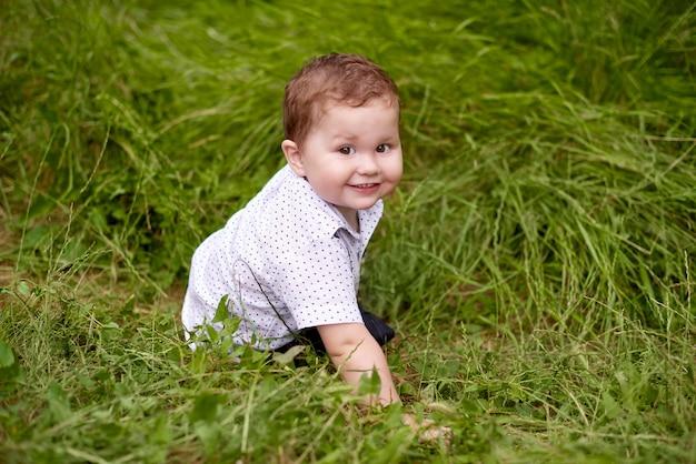 Kleine jongen die in de zomer in groen gras speelt