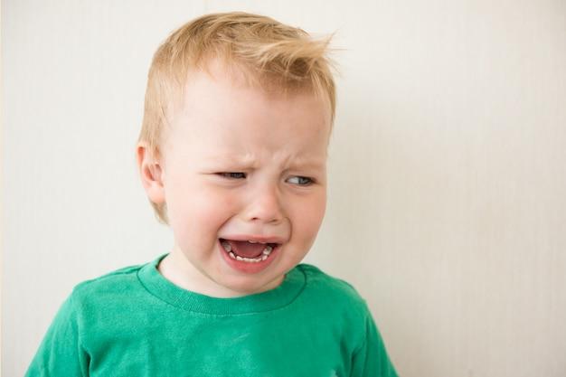 Kleine jongen huilen. het verdriet, het ongeluk, de depressie van het kind