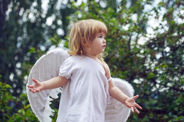 Kleine jongen in engelenvleugels