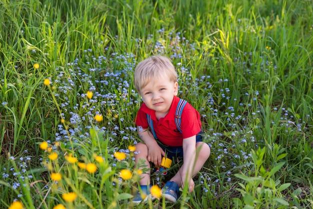 Kleine jongen jongen spelen op gras gekleurd speelgoed