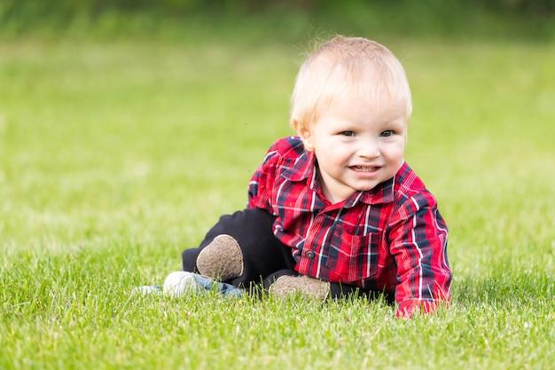Kleine jongen kruipt op het grasveld
