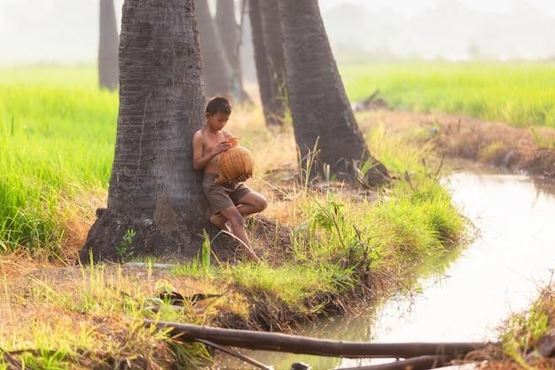 Kleine jongen leunend tegen een grote boom