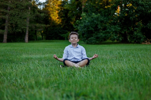Kleine jongen mediteert in de lotushouding op een achtergrond van groene weiden