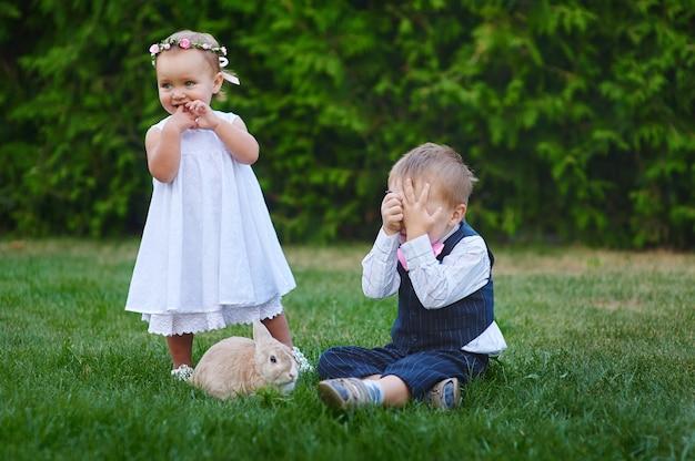 Kleine jongen met het meisje en het konijn die in het gras spelen.