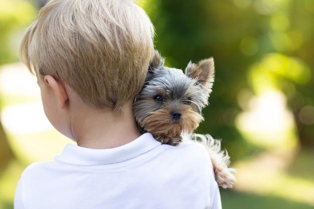 Kleine jongen met hond