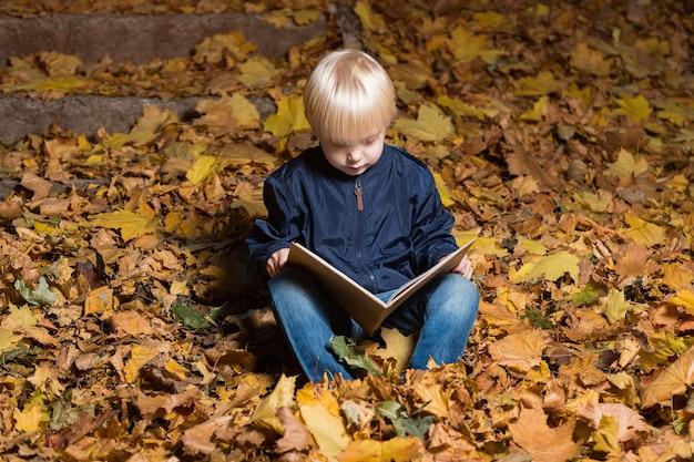 Kleine jongen zittend op gevallen bladeren met boek in handen