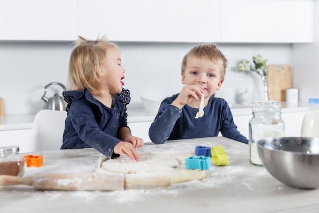 Kleine kinderen in de keuken maken deeg en genieten. gelukkige jeugd.