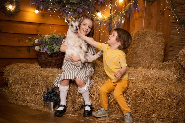 Kleine kinderen spelen met geit in schuur in boerderij