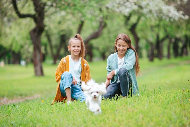 Kleine lachende meisjes spelen en knuffelen puppy in het park