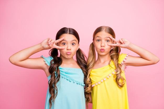 Kleine meisjes met staartjes die tegen de roze muur poseren