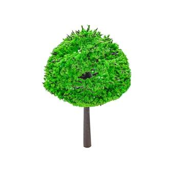 Kleine miniatuur kunstmatige boom gebruikt in modelsets geïsoleerd op een witte achtergrond